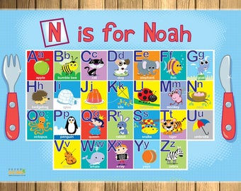 Children's Personalised Alphabet Placemat - Add your child's name!