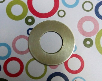 """10 Deburred 24G Brass 1 inch (26mm) Stamping Blanks Washers with 1/2"""" hole"""