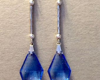 Handmade Art Deco Dropper Earrings, Dropper Earrings, Blue Earrings, Crystal Earrings, Art Deco Jewellery, Vintage Style Earrings
