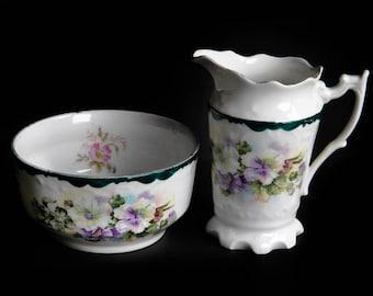 Purple Pansy Sugar Bowl & Creamer Set ~ Vintage Porcelain China ~ Country Farmhouse Cottage Kitchen Home Decor ~ Coffee / Tea / Dining