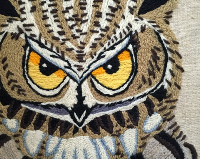 vintage crewel big horn owl picture / wall hanging art work / tapestry