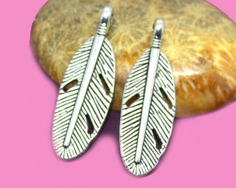 30x09mm silver feather charm