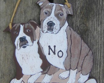 PIT BULLS DOG Custom Wood Sign - Original Hand Painted Hand Crafted