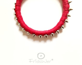 Red bangle with spikes for women Red Gothic spiked bracelet for her fashion Jewelry birthday gifts for friends Punk dark accessories ideas