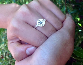 Custom Message Compass Ring by donnaodesigns