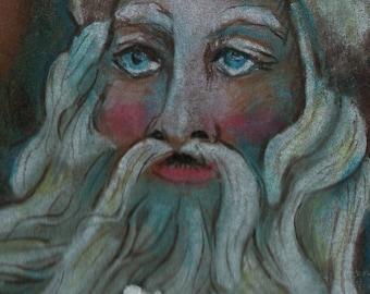 SALE original art aceo drawing Santa Christmas