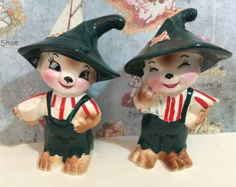 VERY RARE Vintage Retro 1950's Cartoon Farmer Cats or Bears Salt and Pepper Shakers Antique Collectibles or Cake Toppers