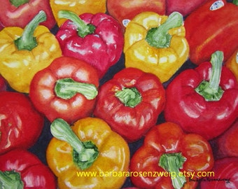 Vegetable Print, Vegetable Painting, Red Pepper Print, Vegetable Wall Art, Watercolor Kitchen Wall Art Food Art Kitchen Decor Art Rosenzweig