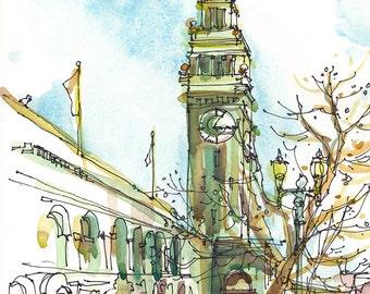 Ferry Building Sketch San Francisco sketch california art print from an original watercolor sketch