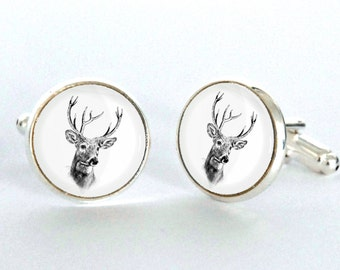 Deer Cufflinks. Vintage Woodland Cufflinks. Mens Cufflinks. Wedding Cufflinks. Stag Cufflinks.Christmas gift for him
