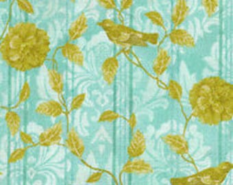 """Floral Fabric, Bird Fabric: Paintbrush Studio A Walk in the Park Stripe Blue - Magpie & Floral 100% cotton fabric by the yard 36""""x43"""" (J58)"""