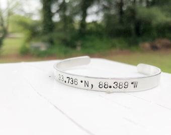 Coordinate Bracelet - Coordinate Cuff - Latitude Longitude Bracelet - Coordinate Hand Stamped Silver Bracelet - Custom Coordinates - Silver
