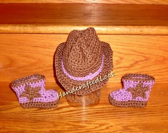 Crochet Newborn Baby Cowgirl Cowboy Hat Boots Photo Prop Set Outfit Shower Gift 0-3 Months