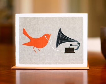 Audiophile - Mod Orange Bird with Gramophone & Ear Buds - Blank Card on 100% Recycled Paper