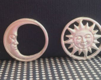 Sun and Moon Earrings - Sun and Moon Sterling Silver Studs - Sun and Moon Jewelry - Celestial Jewelry Sterling Silver - Couples Jewelry