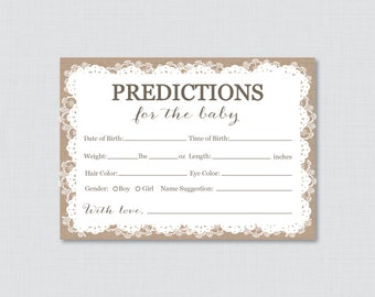 Burlap and Lace Baby Shower Prediction Cards - Instant Download - Baby Statistics Game Guess Baby's Birthday, Weight, etc Burlap Lace 0063