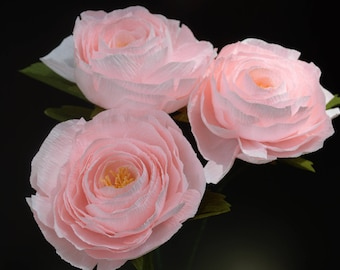 Set of 3 - Handmade Paper Rose Stems, 100% Handmade, Crepe Paper Flower, Pink