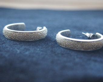 Silver hoop earrings Sparkle Silver Hoops Wide Hoop Earrings Silver-Plated