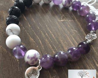 "Natural Stone Elastic Bracelet - ""No Worries"" (Amethyst, Howlite, Lava Rock)"
