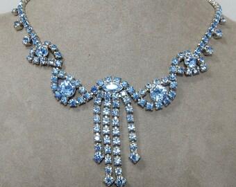 Vintage Blue Rhinestone Dangle Choker Necklace   PV26