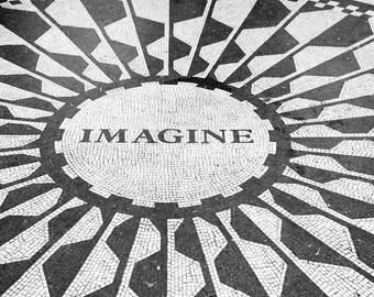 New York Photography, Black and White, Imagine, John Lennon, Central Park, Strawberry Fields, Wall Art, Inspirational, Music Lover