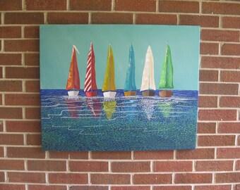 Sailboat Painting Boat Painting Abstract Sailboats Ocean Painting Modern Art
