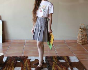 Wool Herringbone Miniskirt