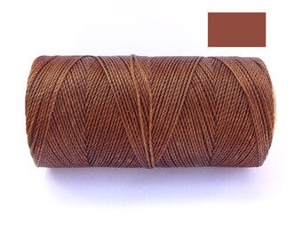 Bracelet Cord - Macrame String - Waxed Cord - COPPER BROWN - Spool of 188 yards