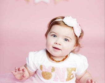 Gold and Pink First Birthday Shirt - First Birthday Outfit - 1st Birthday Shirt - One Mouse Birthday Shirt - Pink and Gold Birthday Shirt