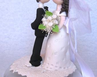 Wedding cake topper, Romantic wedding cake topper, groom kissing bride