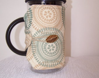 Insulated French press cozy, Blue and tan Bodum cozy sleeve, Pink Flowered Press pot cozie