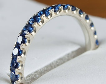 2 mm FULL eternity band Blue Sapphire CZ sterling silver Stacking Ring Anniversary Gift birthstone