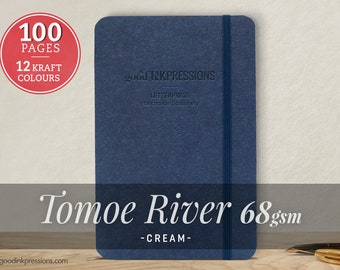 100 Page TOMOE RIVER 68gsm Notebook - Perfect Gift - iPad Mini Size - Fountain Pen Friendly - Bullet Journal - Extra Durable Construction