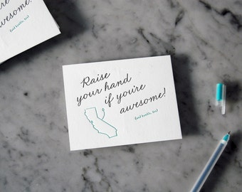 Awesome and Humble Letterpress Postcard — Just Because, Any Occasion, Greeting Postcard