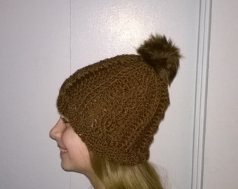 Custom Crochet Cabled Beanie with Faux Fur Pom Pom