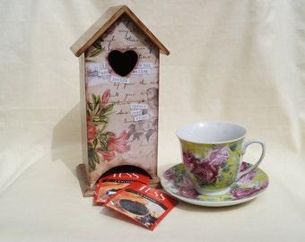 Wooden tea bags holder Memories tea house box wooden tea box tea bag box house for tea bags tea box tea bags storage kitchen decor