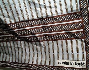 Daniel La Foret Paris France Vintage Silk Scarf in Browns