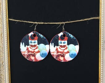John Wayne Gacy wood earrings