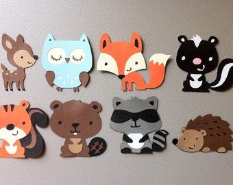 Set of 8 Woodland Animals - Deer, Owl, Squirrel, Skunk, Beaver, Hedgehog, Fox, Raccoon