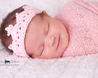 Baby girl, Baby crown, Headband baby, Crown, Crochet princess crown, Crochet headband, Newborn photo prop, Fairytale gift, baby shower  gift