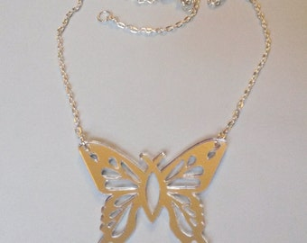 Beautiful Butterfly Mirror Summer Trend Necklace