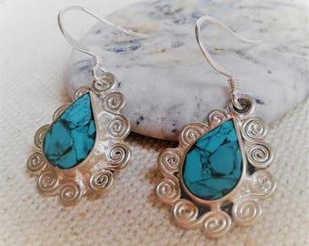 Ethnic earrings semi Turquoise Népal-Bohème-Pierres Precious