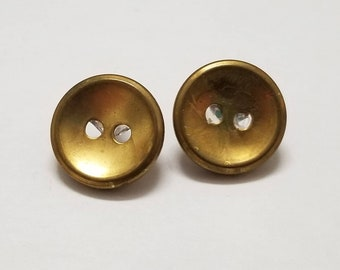 Vintage Brass Button Earrings