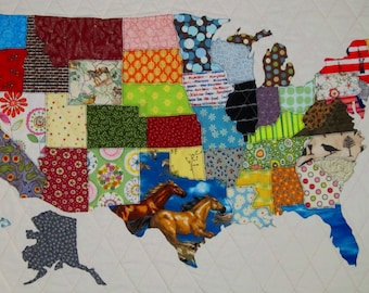 USA PATCHWORK MAP Quilt Pattern from Quilts by Elena Full Sized Templates and Clear Instructions