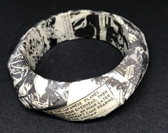 Black and grey vintage comic book covered bangle