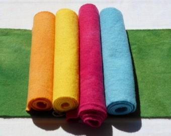 Teint à la main laine tissu - laine, couleurs d'été - rug hooking - applique et l'artisanat - primitive d'artisanat - quilting arts de l'aiguille - couture - - 04