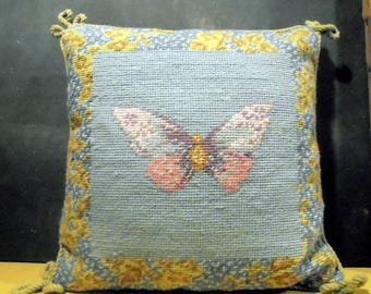 Butterfly Needlepoint PIllow Vintage Textile Needlepoint