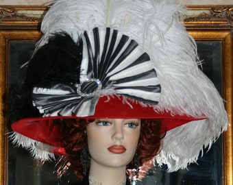 Kentucky Derby Hat Ascot Hat Edwardian Hat Wide Brim Women's White and Red Hat - Lady Joan