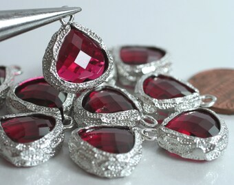 Framed ruby red glass drop charm connector, earring componenet, necklace pendant, 2 pcs (item ID G31N09SP)