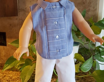 Blue STRIPE sleeveless SHIRT white cropped PANTS for American Girl type doll clothes